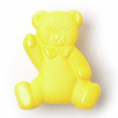 Plush Addict - Shaped Teddy Bear Button - 2 Designs - 4 Colours in The Range Yellow - 16mm Wide (25L)  x 1 Button