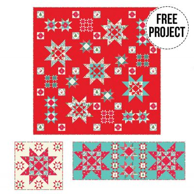Makower  Let It Snow Christmas 2020 Quilt, Runner and Cushion - Free Download