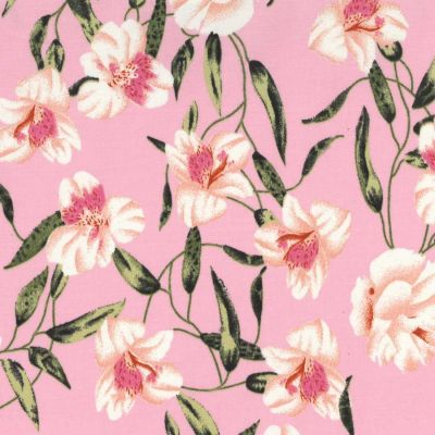 Stretch Cotton Fabric - Lilies On Pink