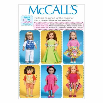 "McCalls Sewing Pattern M7106 Clothes For 18"" Dolls"