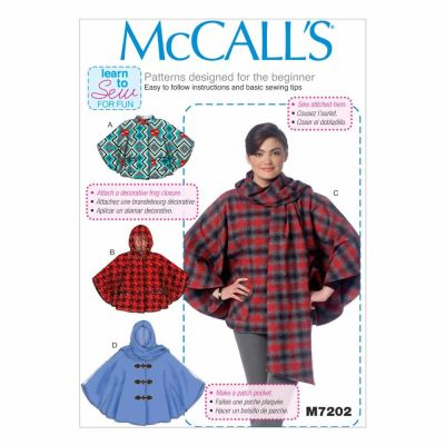 McCalls Sewing Pattern M7202 Misses' Ponchos
