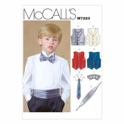 McCalls Sewing Pattern M7223 Children's/Boys' Lined Vests, Cummerbund, Bow Tie and Necktie