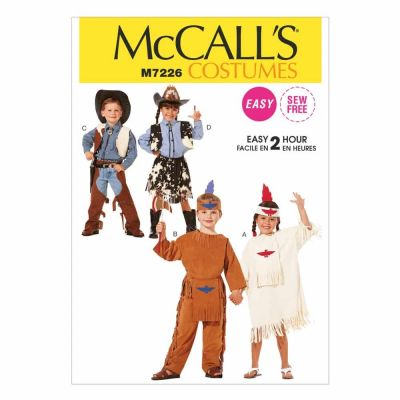 McCalls Sewing Pattern M7226 Children's, Boys' and Girls' Cowboys and Indians Costumes