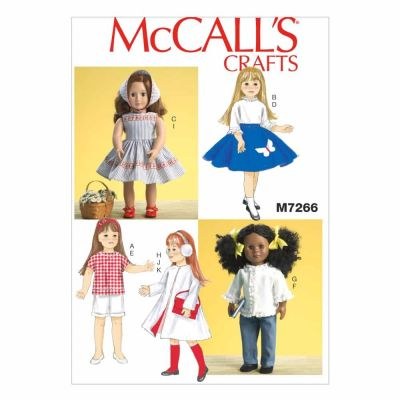 "McCalls Sewing Pattern M7266 18"" Retro Doll Clothes"