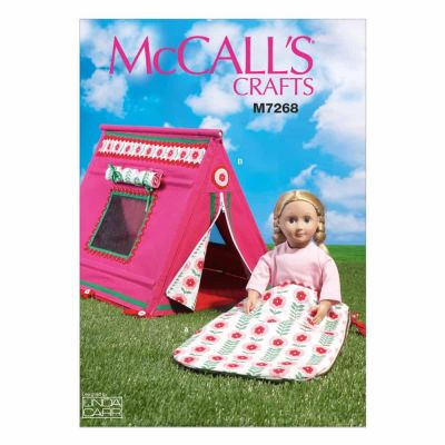 "McCalls Sewing Pattern M7268 18"" Doll's Sleeping Bag and Tent"