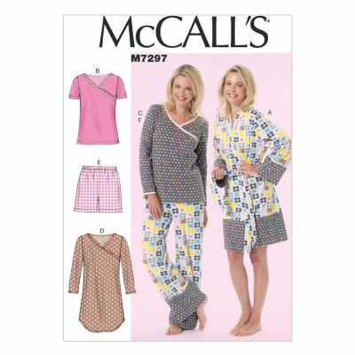 McCalls Sewing Pattern M7297 Misses'/Women's Robe, Belt, Tops, Dress, Shorts and Pants