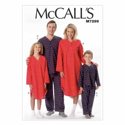 McCalls Sewing Pattern M7299 Misses'/Men's/Boys'/Girls' Top, Nightshirt and Pants