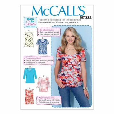 McCalls Sewing Pattern M7322 Misses' Pullover Tops