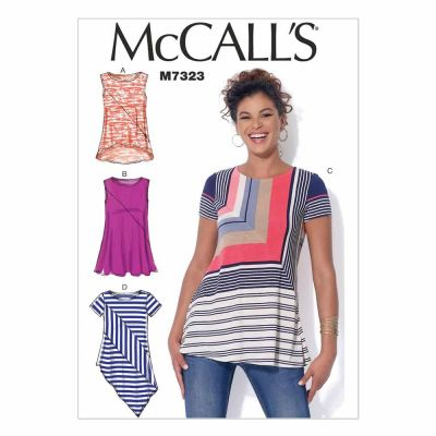 McCalls Sewing Pattern M7323 Misses' Asymmetrical Seam Detail Tops