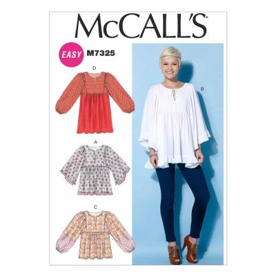 McCalls Sewing Pattern M7325 Misses' Gathered Tops and Tunic