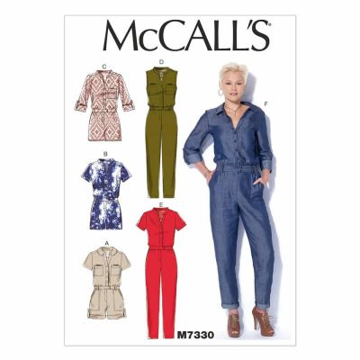 McCalls Sewing Pattern M7330 Misses' Button-Up Rompers and Jumpsuits