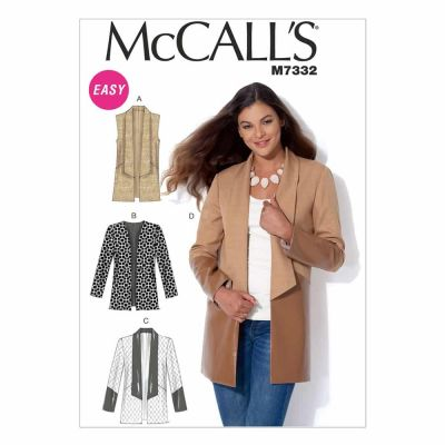 McCalls Sewing Pattern M7332 Misses' Open Front Vest and Jackets