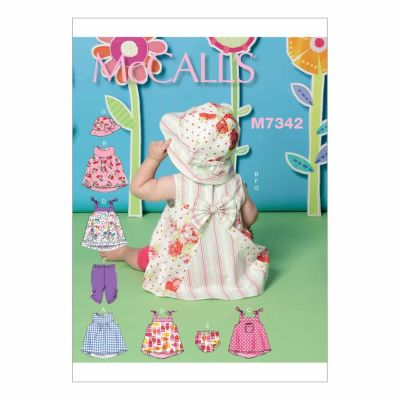 McCalls Sewing Pattern M7342 Infants' Back-Bow Dresses, Panties, Leggings and Bucket Hat