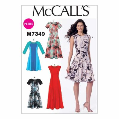 McCalls Sewing Pattern M7349 Misses'/Miss Petite Sleeveless or Raglan Sleeve, Fit and Flare Dresses