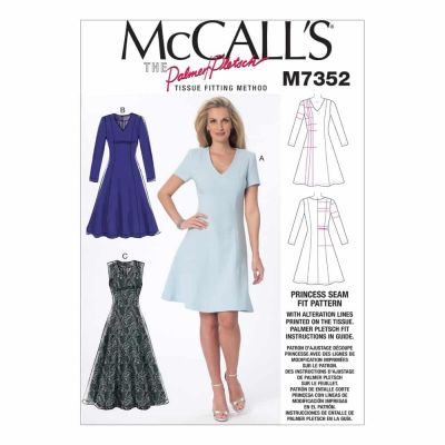 McCalls Sewing Pattern M7352 Misses' Jewel or V-Neck Fit and Flare Dresses