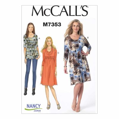 McCalls Sewing Pattern M7353 Misses' Raised Elastic-Waist Top and Dresses