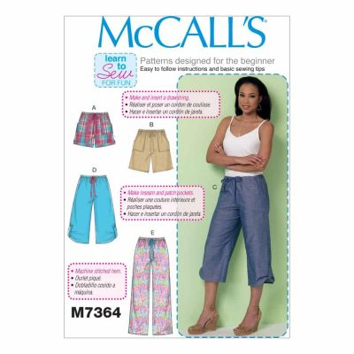 McCalls Sewing Pattern M7364 Misses' Drawstring Shorts and Pants with Pockets