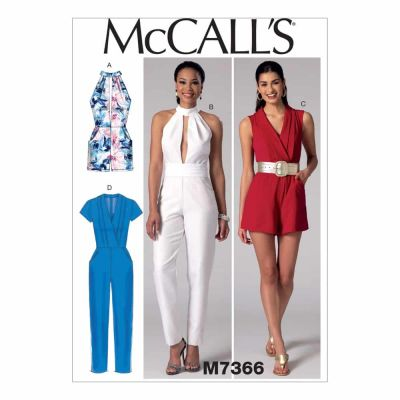 McCalls Sewing Pattern M7366 Misses' Pleated Surplice or Plunging-Neckline Rompers, Jumpsuits and Belt