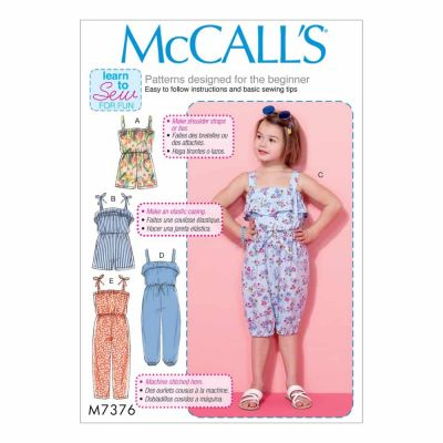 McCalls Sewing Pattern M7376 Children's/Girls' Blouson-Bodice Rompers and Jumpsuits