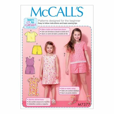 McCalls Sewing Pattern M7377 Children's/Girls' Tops, Tent Dresses, Blouson-Bodice Romper and Shorts