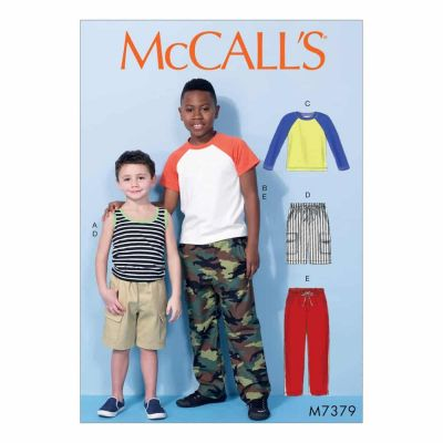 McCalls Sewing Pattern M7379 Children's/Boys' Raglan Sleeve and Tank Tops, Cargo Shorts and Pants
