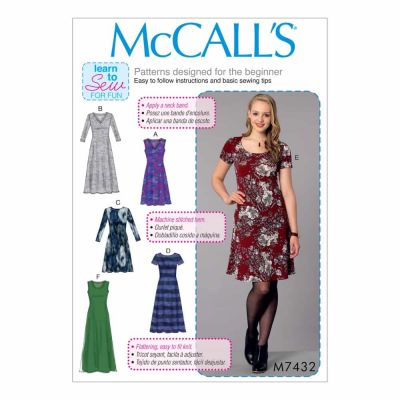 McCalls Sewing Pattern M7432 Misses' Knit Dresses with V, Crew or Scoop Necklines