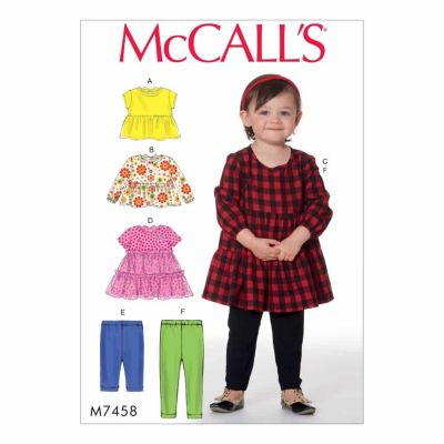 McCalls Sewing Pattern M7458 Toddlers' Gathered Tops, Dresses and Leggings