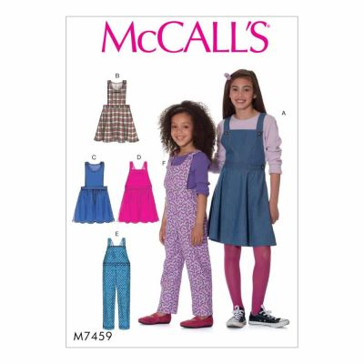 McCalls Sewing Pattern M7459 Children's/Girls' Jumpers and Overalls