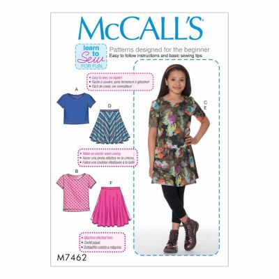 McCalls Sewing Pattern M7462 Girls'/Girls' Plus Knit Tops and Flared Skirts