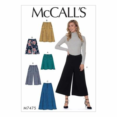 McCalls Sewing Pattern M7475 Misses' Flared Skirts, Shorts and Culottes
