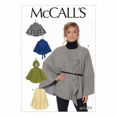 McCalls Sewing Pattern M7477 Misses' Hooded, Collared or Collarless Capes