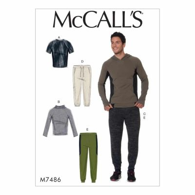 McCalls Sewing Pattern M7486 Men's Raglan Sleeve Tops and Drawstring Pants