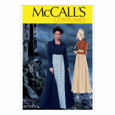 McCalls Sewing Pattern M7493 Cropped Jacket, Floor-Length Coat and A-Line, Square-Neck Dress