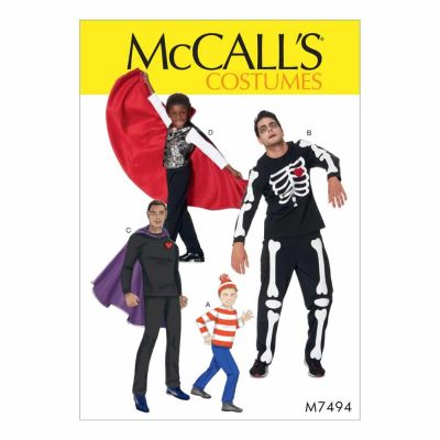 McCalls Sewing Pattern M7494 Men's/Boys' Skeleton, Hero, Vampire and Character Costumes