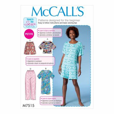 McCalls Sewing Pattern M7515 Misses'/Miss Petite Short Sleeve Top and Dress, and Pull-On Shorts and Pants