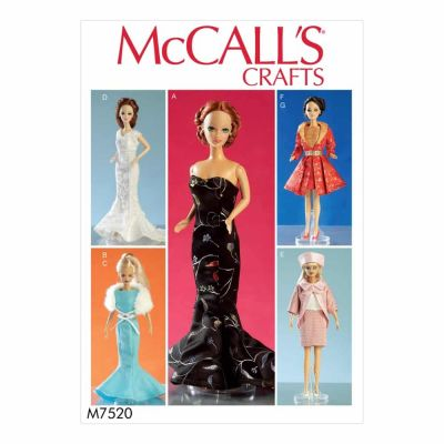 "McCalls Sewing Pattern M7520 Gowns, Stole, Dresses, Coats and Hat for 11½"" Doll"