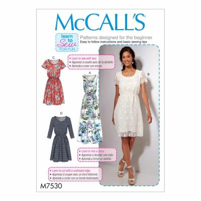 McCalls Sewing Pattern M7530 Misses' Gathered-Waist, Scoopneck Dresses