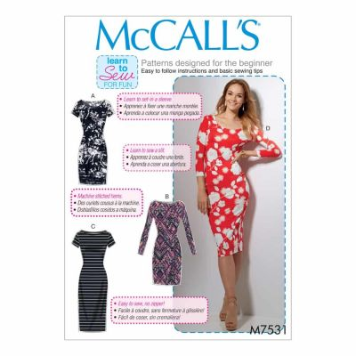 McCalls Sewing Pattern M7531 Misses' Knit Bodycon Dresses