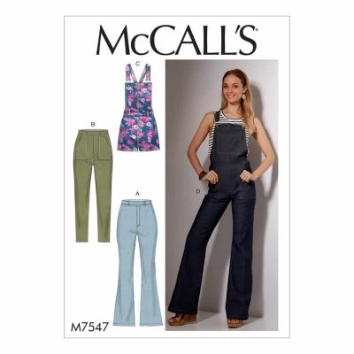 McCalls Sewing Pattern M7547 Misses' Flared Jeans and Overalls, Skinny Jeans, and Shortalls