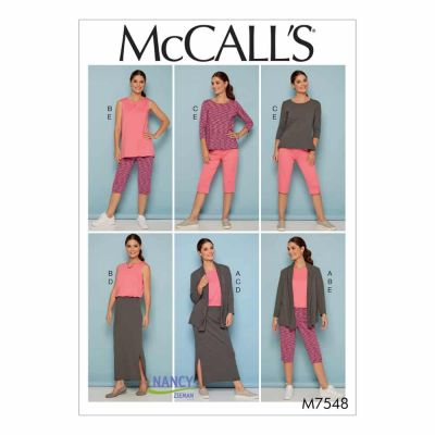 McCalls Sewing Pattern M7548 Misses'/Women's Knit Shawl Collar Jacket, Tops with Slits, and Banded Skirt and Pants