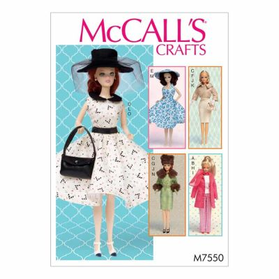 "McCalls Sewing Pattern M7550 Retro-Style Clothes and Accessories for 11½"" Doll"