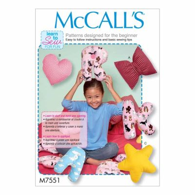 McCalls Sewing Pattern M7551 Star, Heart, Bow, and Alphabet Pillows