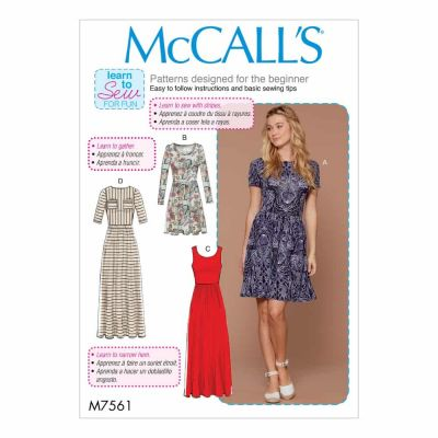 McCalls Sewing Pattern M7561 Misses' Pullover, Gathered-Waist Knit Dresses with Sleeve and Hem Options