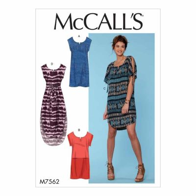 McCalls Sewing Pattern M7562 Misses' Pullover Dresses with Sleeve Ties, Pocket Variations, and Belt