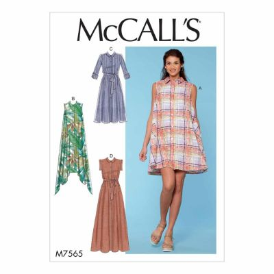 McCalls Sewing Pattern M7565 Misses' Shirtdresses with Sleeve Options, and Belt