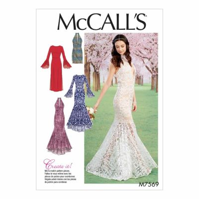 McCalls Sewing Pattern M7569 Misses' Column and Mermaid-Style Dresses with Bodice and Sleeve Variations