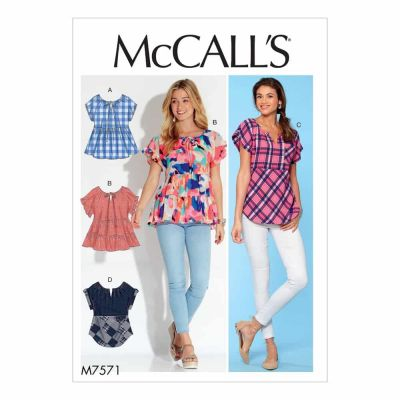 McCalls Sewing Pattern M7574 Misses' Knit, Raglan Sleeve Pullover Tops, Tunic, and Dress