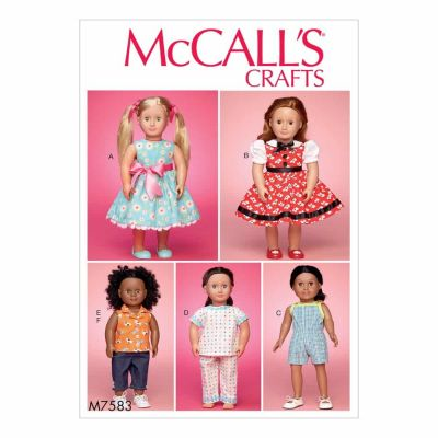 "McCalls Sewing Pattern M7583 18"" (46cm) Play and Dress Up Doll Clothes"