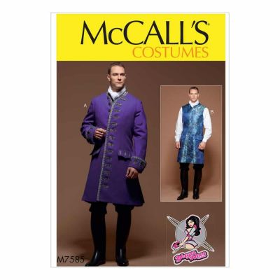 McCalls Sewing Pattern M7585 Men's Three-Quarter-Length Coat and Vest Costume