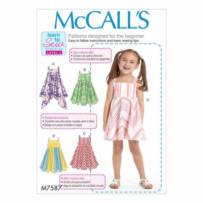 McCalls Sewing Pattern M7587 Children's/Girls' Dresses with Square Neck, and Circular Skirt Variations